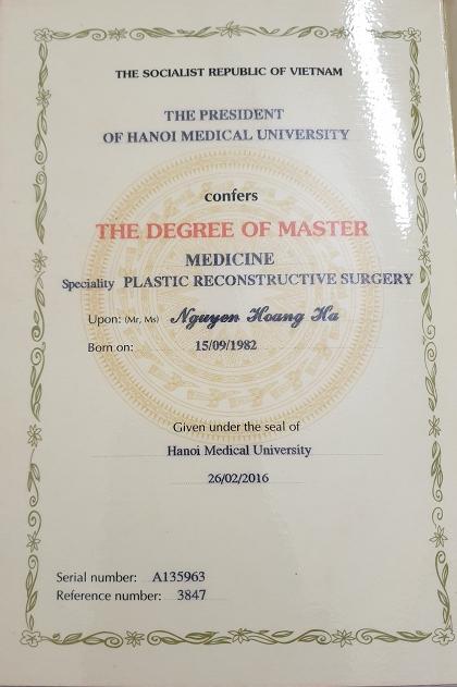 Bằng Thạc Sỹ Y Học Chuyên Ngành Phẫu Thuật Tạo Hình(ngày cấp 26/2/2016)